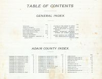 Table of Contents, Adair County 1898